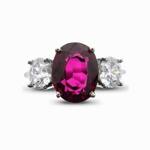 Oval Ruby & Diamond Three Stone Ring - 3.50ct